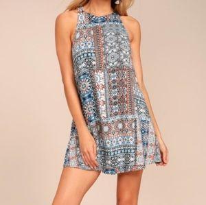 Lulu's Mosaic Print Swing Mini Dress